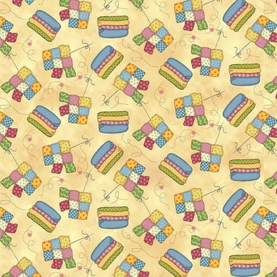 Henry Glass & Co Sew Let's Stitch - Quilt and Fabric - Butter