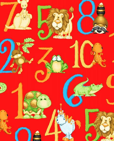Henry Glass Fabrics ABC-123 Numbers Red
