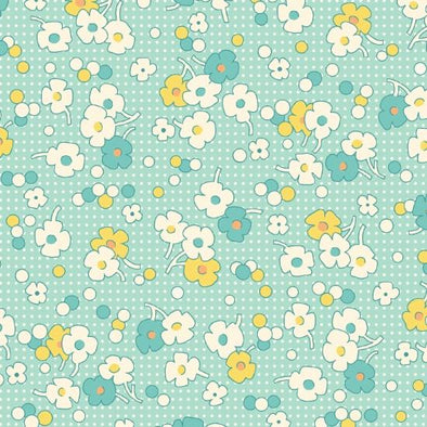Henry Glass & Co Nana Mae II Floral/dot Lt Blue