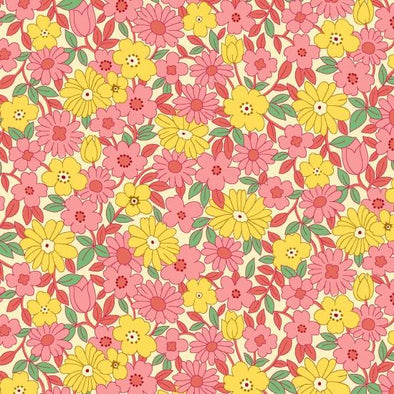 Henry Glass & Co Nana Mae II Large Daisy Pink  w/Yellow