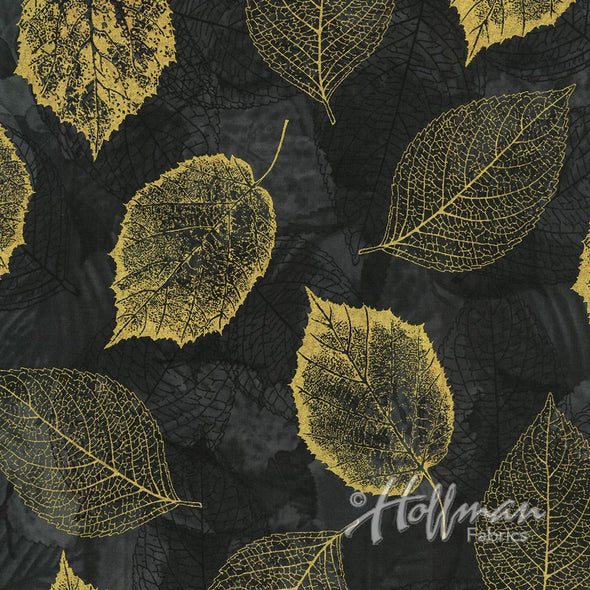 Hoffman Fabrics Falling For You Metallic Leaves Black/Gold