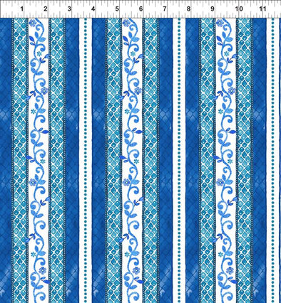 In The Beginning Fabrics Brianna Lattice Stripe Blue/White