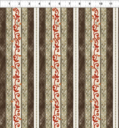 In The Beginning Fabrics Brianna Lattice Stripe Brown/Red