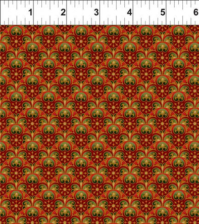 In The Beginning Fabrics Peaceful Holiday Scallops Red