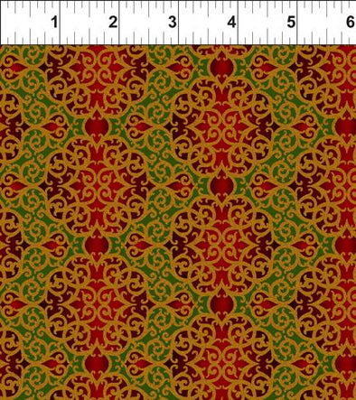 In The Beginning Fabrics Fillgree Red/Green Peaceful Holiday