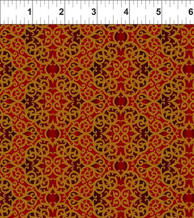 In The Beginning Fabrics Fillgree Red Peaceful Holiday