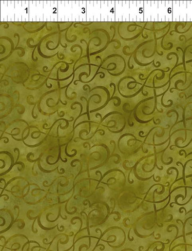 In The Beginning Fabrics Scroll Swirl Green