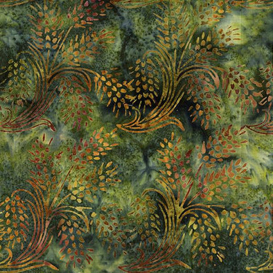 Island Batik Autumn's Grace Wheat Fairway Green