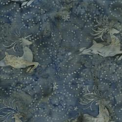 Island Batik Tinsel Deer Steel Blue & Gray