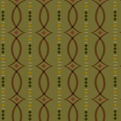 Henry Glass & Co Helping Hands Fancy Stripe on green w/brown