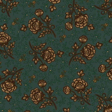 Henry Glass & Co Helping Hands Wild Rose on teal w/brown