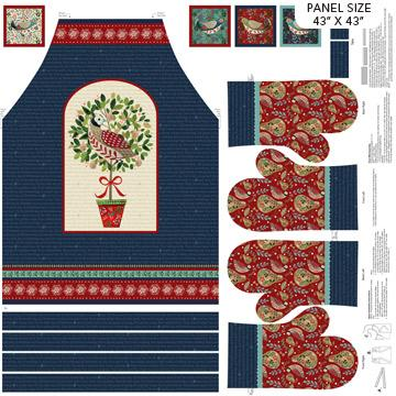 "Northcott - 12 Days of Christmas APRON 43"" x WOF"