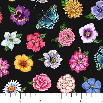Northcott Have a Beautiful Day Multi Flowers on Black