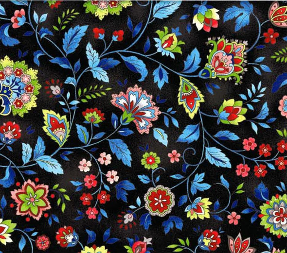 Oasis Fabrics Paisley Black w/Blue Leaves