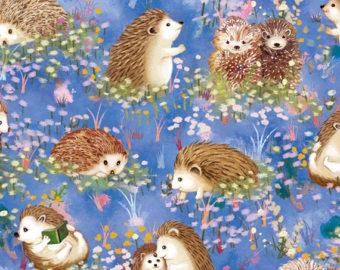 Paintbrush Studio Fabrics Hedgehog Village in the field on Blue