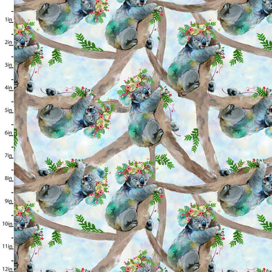 3 Wishes Fabric Party Animals-Koala Bears