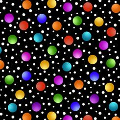 Quilting Treasures Fabrics Alpha Doodle - Dots - Black