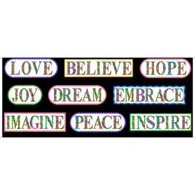 Quilting Treasures Fabrics Alpha Doodle - Inspirational Words Panel - Black