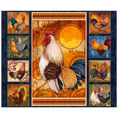 Quilting Treasures Fabrics Sunrise Farms Rooster Panel