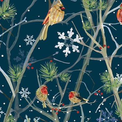 QT Fabrics - Winter Birds - Navy