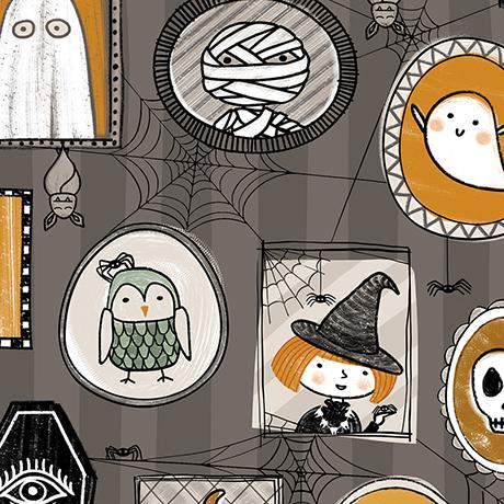 Quilting Treasures Fabrics Boos & Ghouls Halloween Characters Gray