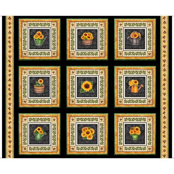 Quilting Treasures Fabrics - Always Face The Sunshine-Sunflower Picture Patches - Black
