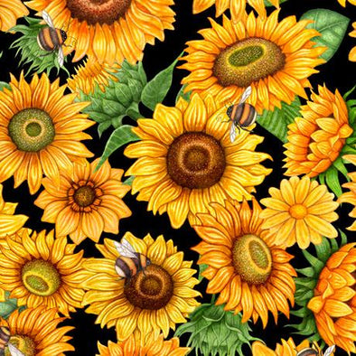 Quilting Treasures Fabrics - Always Face The Sunshine Packed Sunflowers - Black