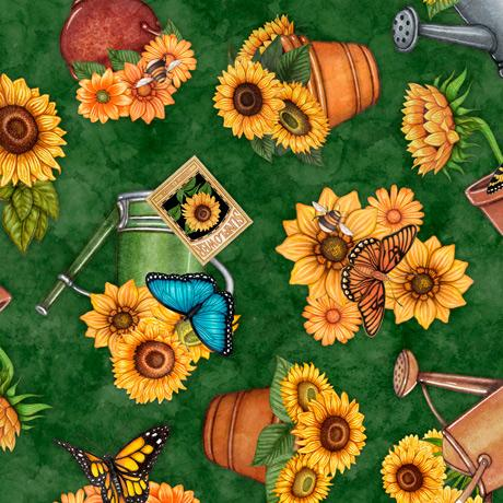 Quilting Treasures Fabrics - Always Face The Sunshine Potted Sunflowers-Evergreen