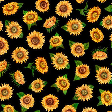Quilting Treasures Fabrics - Always Face The Sunshine Sunflowers Black