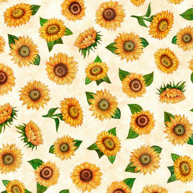 Quilting Treasures Fabrics - Always Face The Sunshine Sunflowers Cream