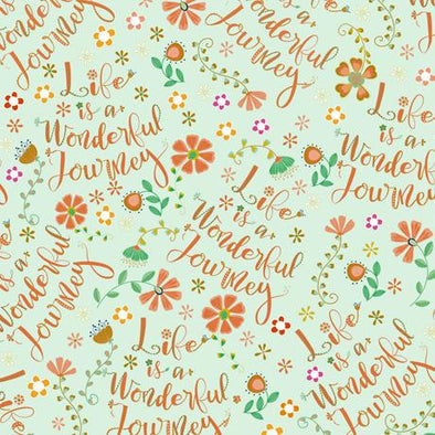 Quilting Treasures Fabrics - Road Trip - Life is a Wonderful Journey Toss - Mint