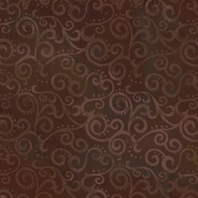 Quilting Treasures Fabrics Ombre Scroll Backing Root Beer