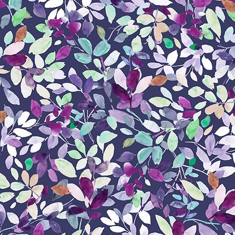 Quilting Treasures Fabrics Jacqueline Leaves Dk Grape