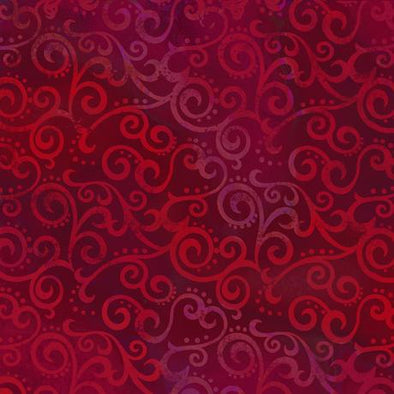 Quilting Treasures Fabrics Ombre Scroll Backing Ruby