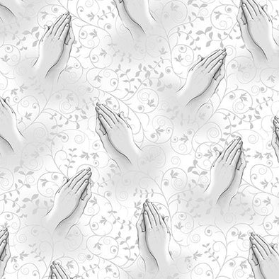 Quilting Treasures Our Father Praying Hands White