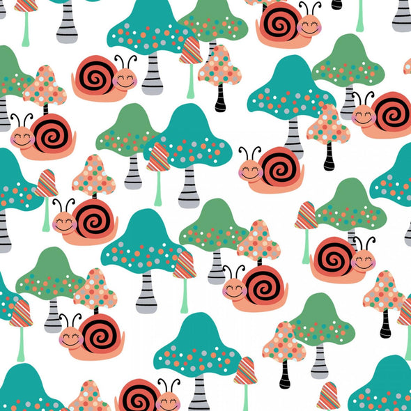 Studio E Fabrics - Mushrooms and Snails - Multi Color