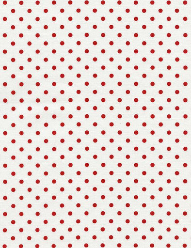 Timeless Treasures - Red Dots on White