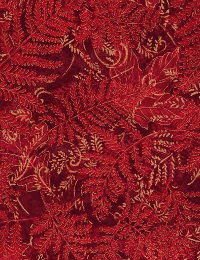 Timeless Treasures Fabrics Metallic Ferns and Leaves - Red