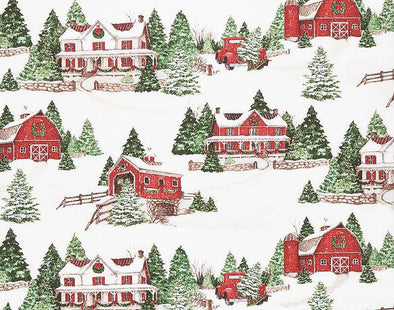 Wilmington Prints - Christmas Farm Scenic - Evergreen Farm