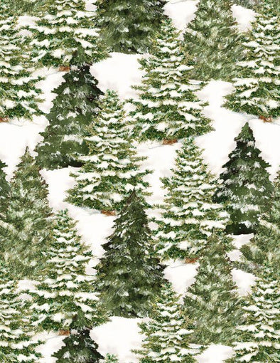 Wilmington Prints - Christmas Pine Trees - Evergreen Farm