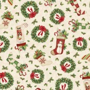 Wilmington Prints - Christmas Wreaths/Sockings Toss - Evergreen Farm