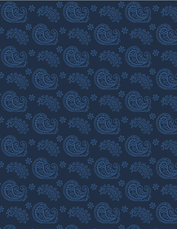 Wilmington Prints - Paisley - Light Blue with Navy Background
