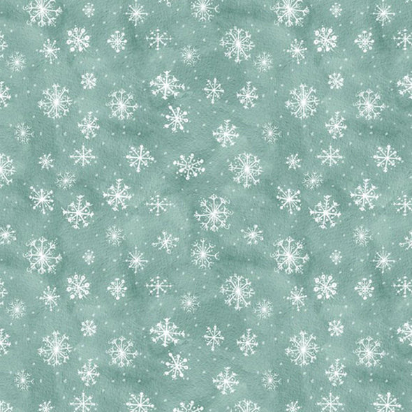 Wilmington Prints Friendly Gathering Teal Snowflake