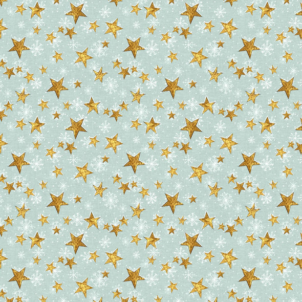 Wilmington Prints Friendly Gathering Teal Stars