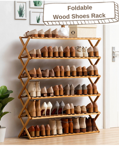 Foldable Wood Shoes Rack