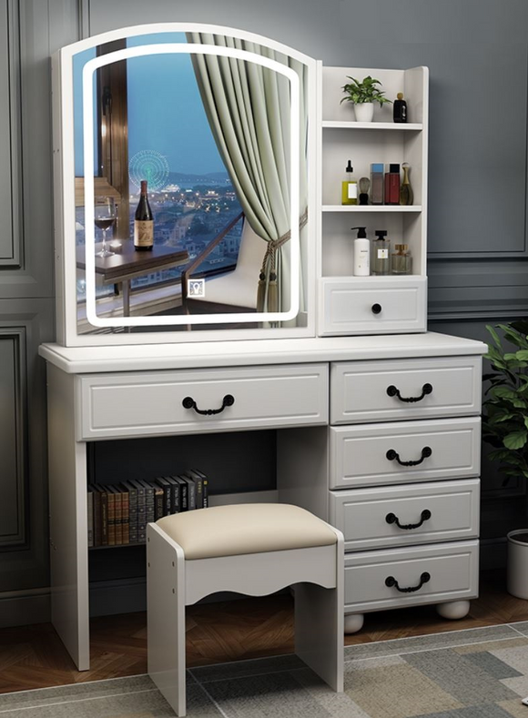 Modern LED Sliding Mirror MakeUp Table Cabinet With Padded Chair