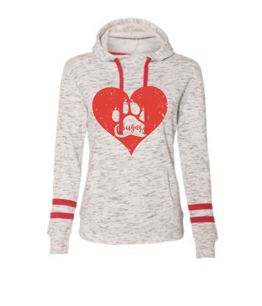 Cougars Ladies Sweatshirt with Red Stripes