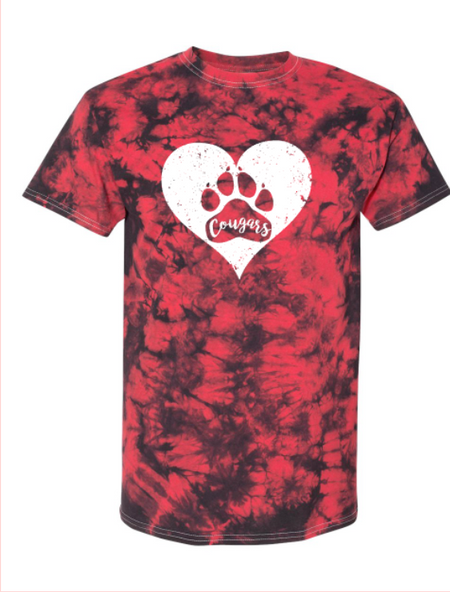 Cougars Tie-Dye Heart Tee - Youth/Adult