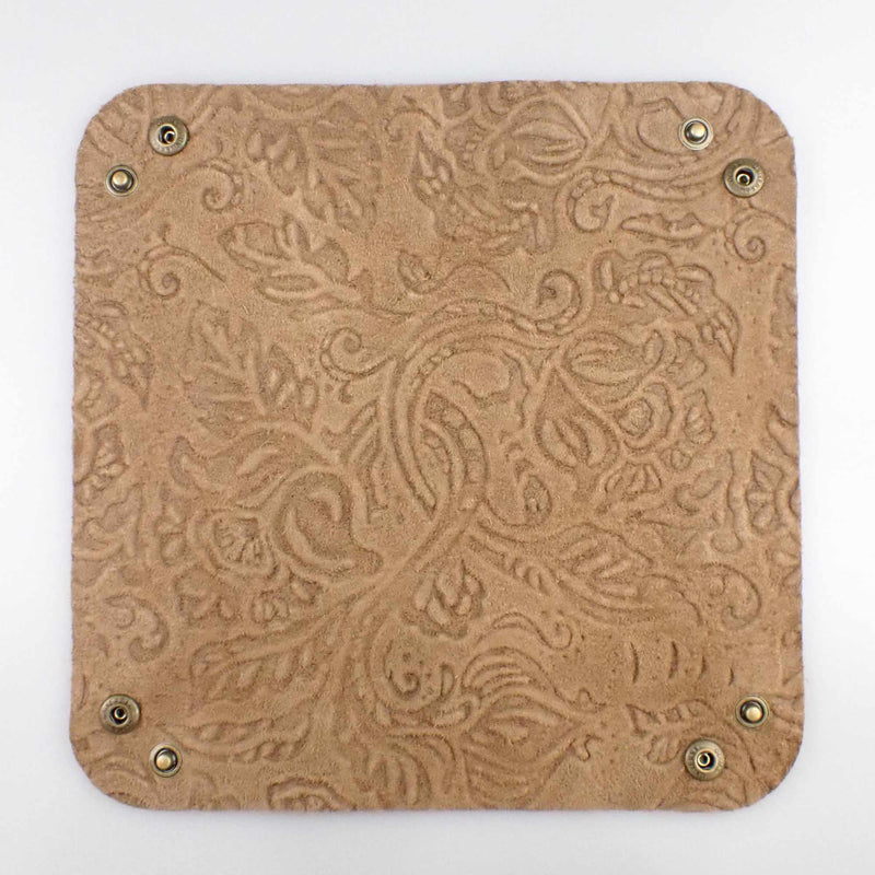 Floral Embossed Handmade Italian Leather Dice Tray (Limited Edition)