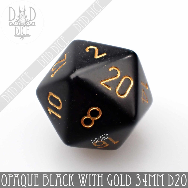 Opaque Black with Gold 34mm D20 (Oversize)